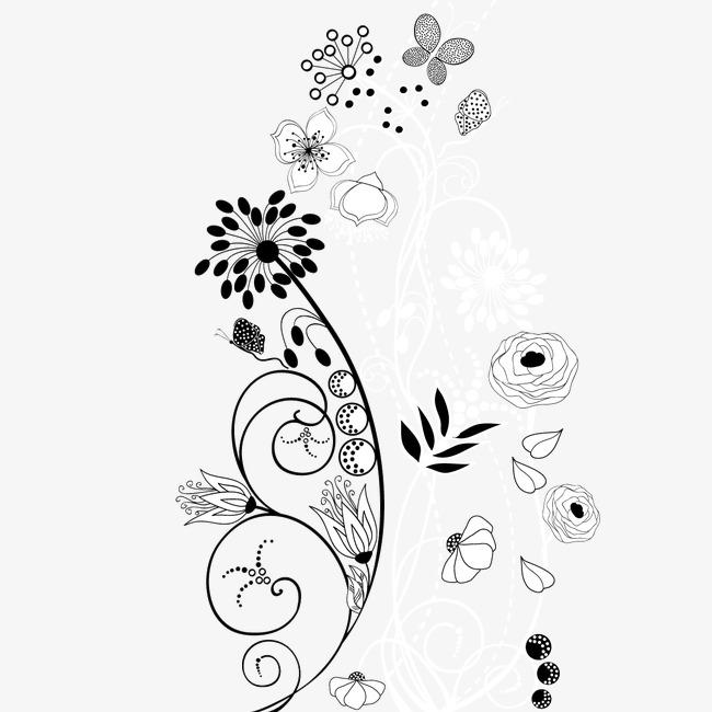 手绘线描花卉装饰矢量图