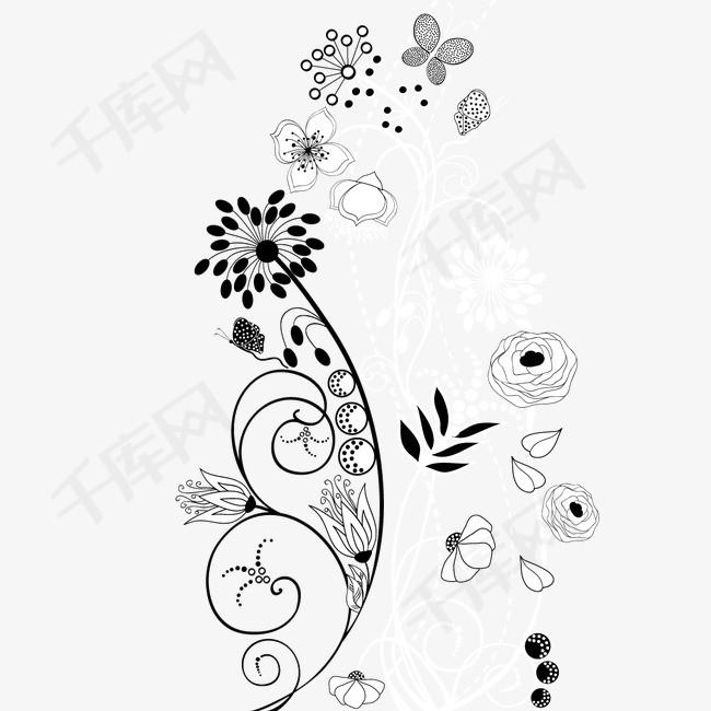 手绘线描花卉装饰矢量图素材图片免费下载 高清装饰图案psd 千库网 图片编号2282931图片