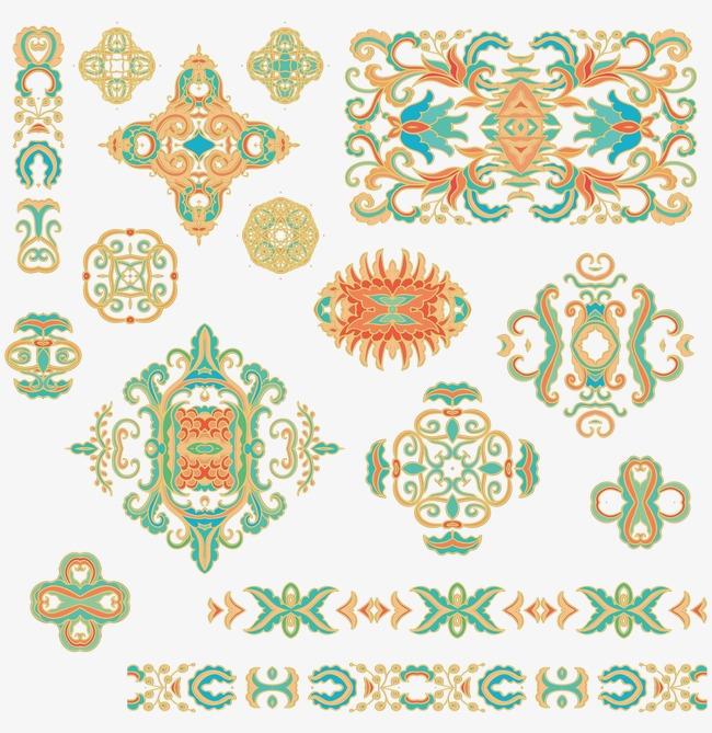 鲜艳民族风图案彩色古典花纹民族服饰传图图案-鲜艳民族风图案素材图片