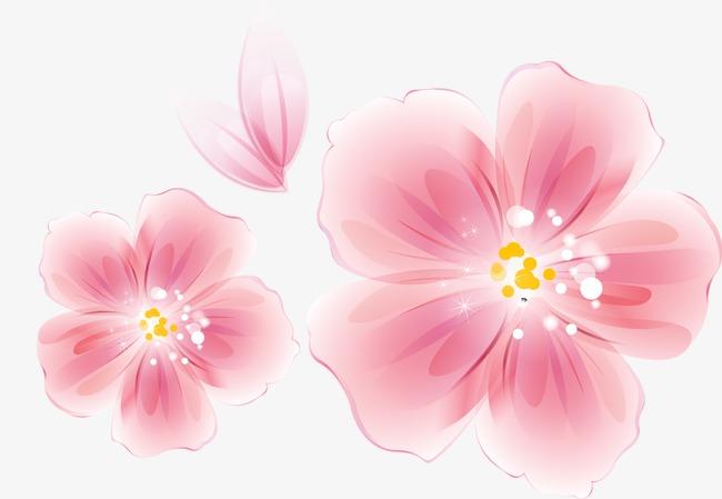 手绘水墨粉色花朵图案