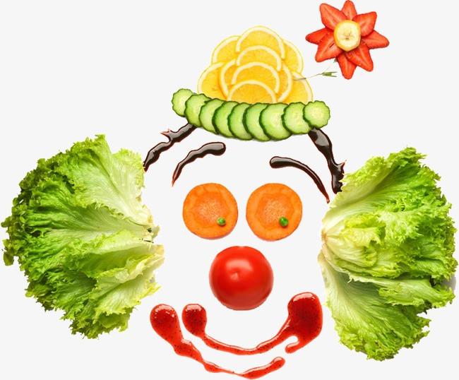 蔬菜拼图小丑png素材-90设计图片