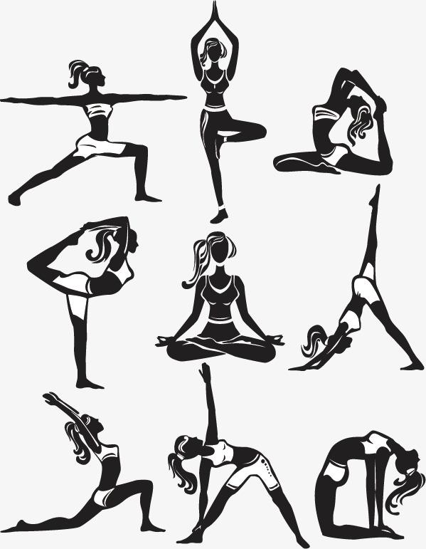 手绘瑜伽矢量图