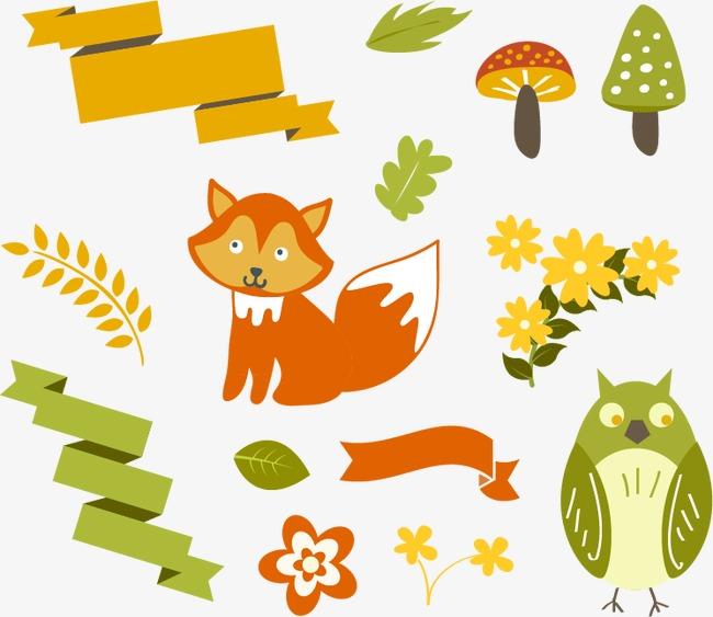 清新森林动物元素矢量素材,【高清装饰元素png素材】