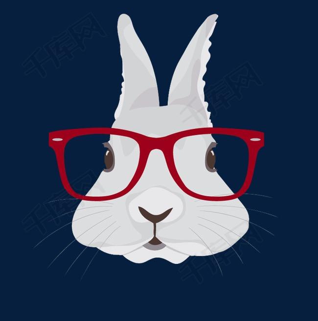 戴眼镜的兔子头素材图片免费下载 高清装饰图案png 千库网 图片编号