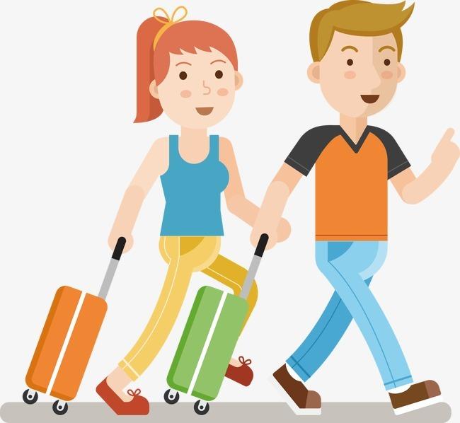 卡通人物手拉行李箱旅游元素图片