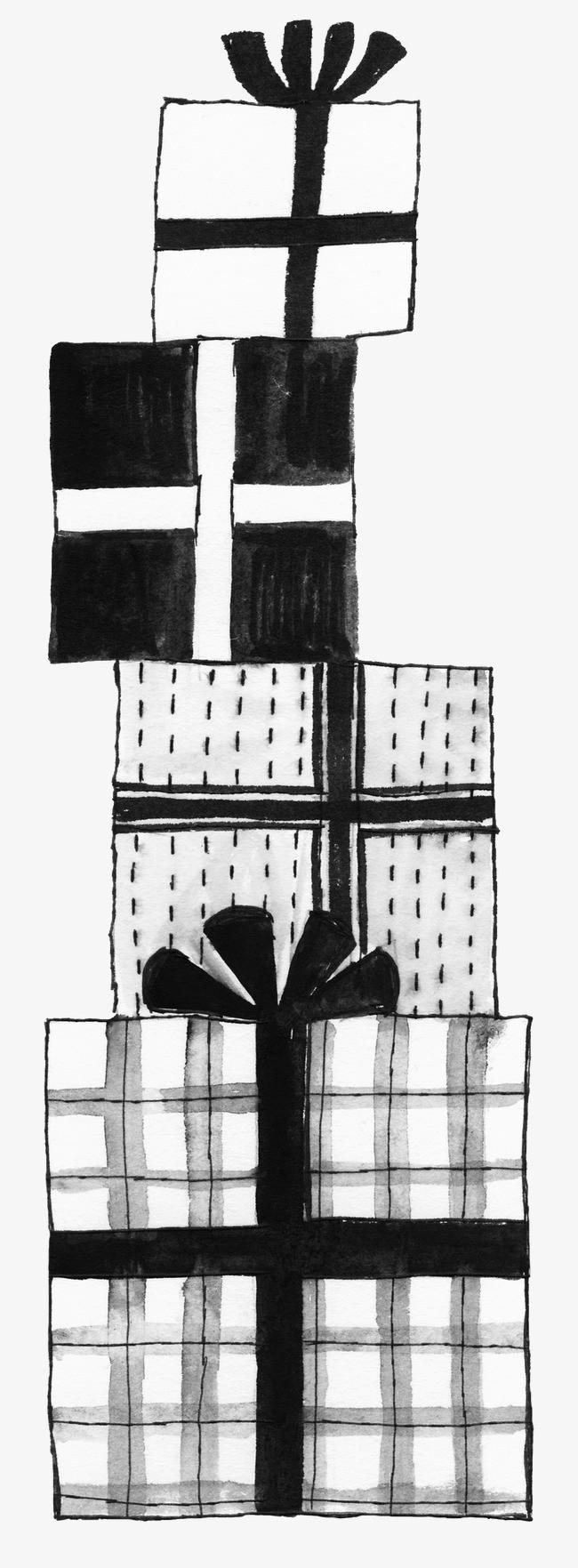 礼物盒黑白简笔画