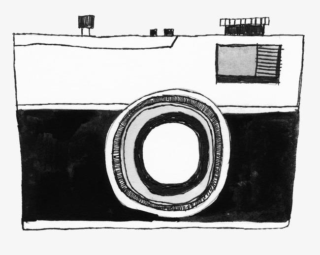 相机黑白简笔画