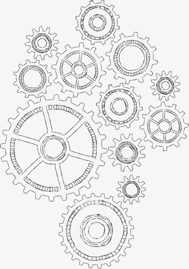 手绘画工业齿轮