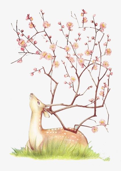 水彩创意麋鹿
