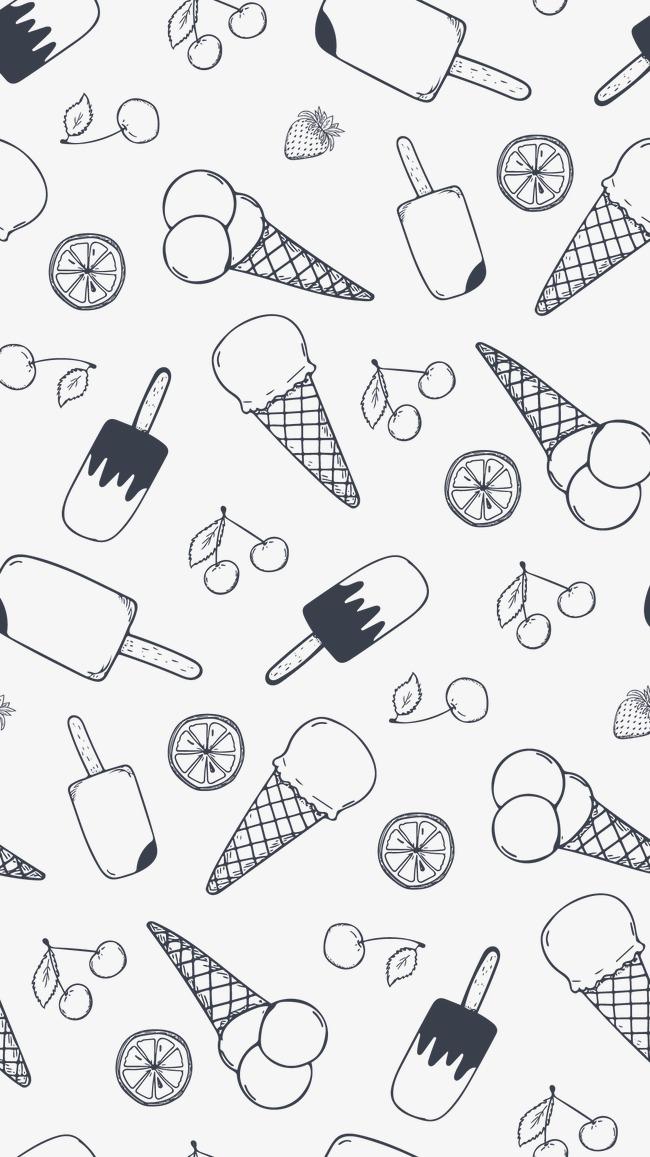矢量图黑白水果冰淇淋甜筒柠檬雪糕樱桃黑色简笔画-黑白蔬菜矢量图