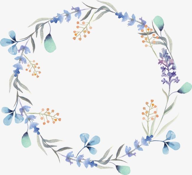 手绘水彩花环