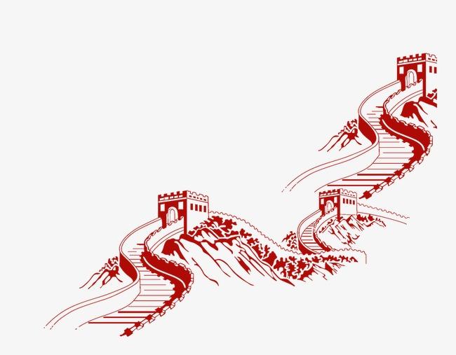 长城剪影【高清装饰元素png素材】-90设计