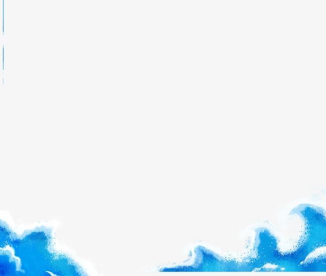 卡通手绘蓝色海浪