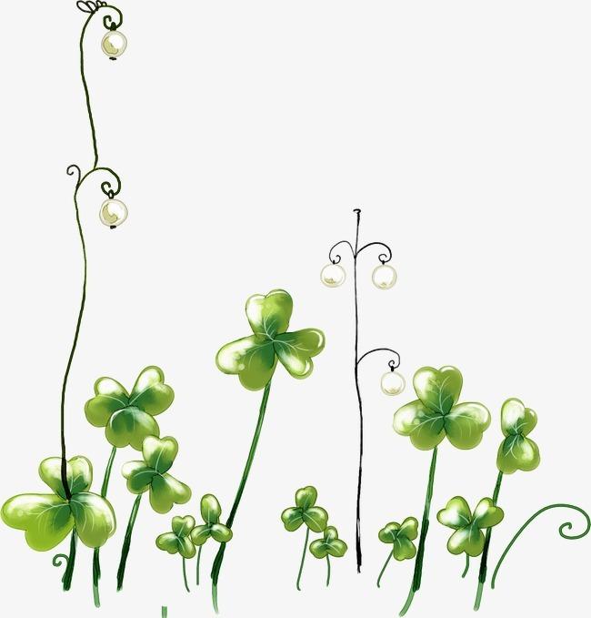卡通手绘绿色清新幸运三叶草图片