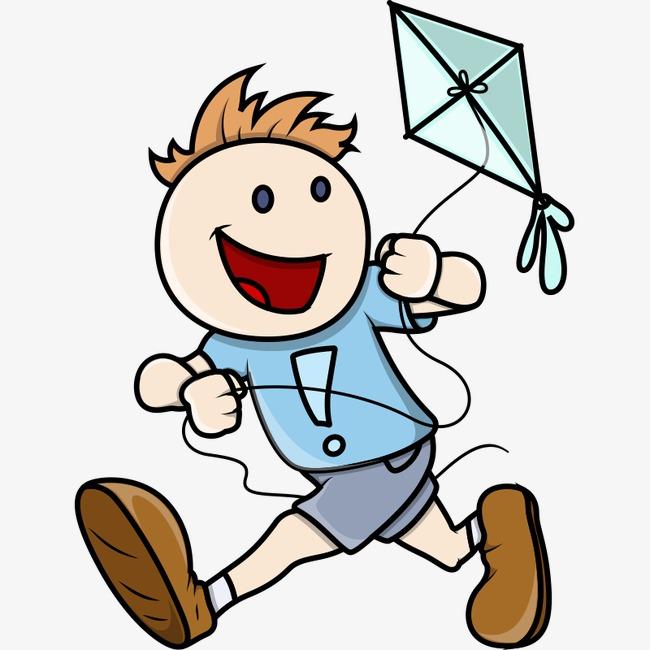卡通人物 放风筝