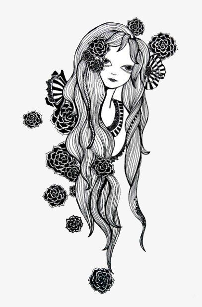 黑白线条美人图案png素材-90设计