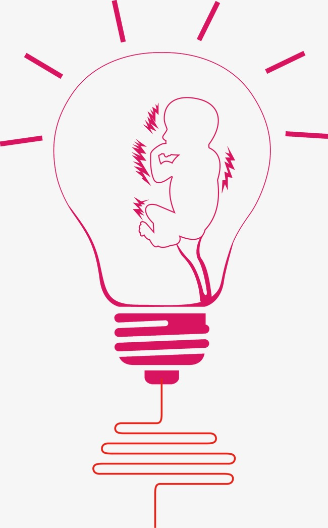手绘创意婴儿灯泡灯泡婴儿发光照明创意灯具灯点灯现代生活元素医疗