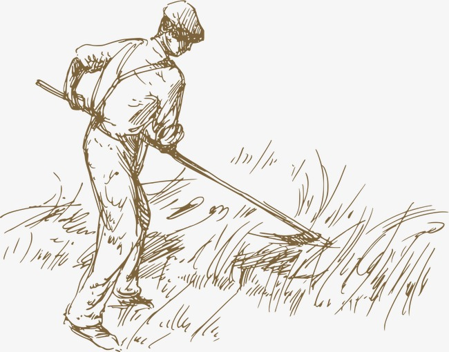 手绘线稿庄园农牧素材