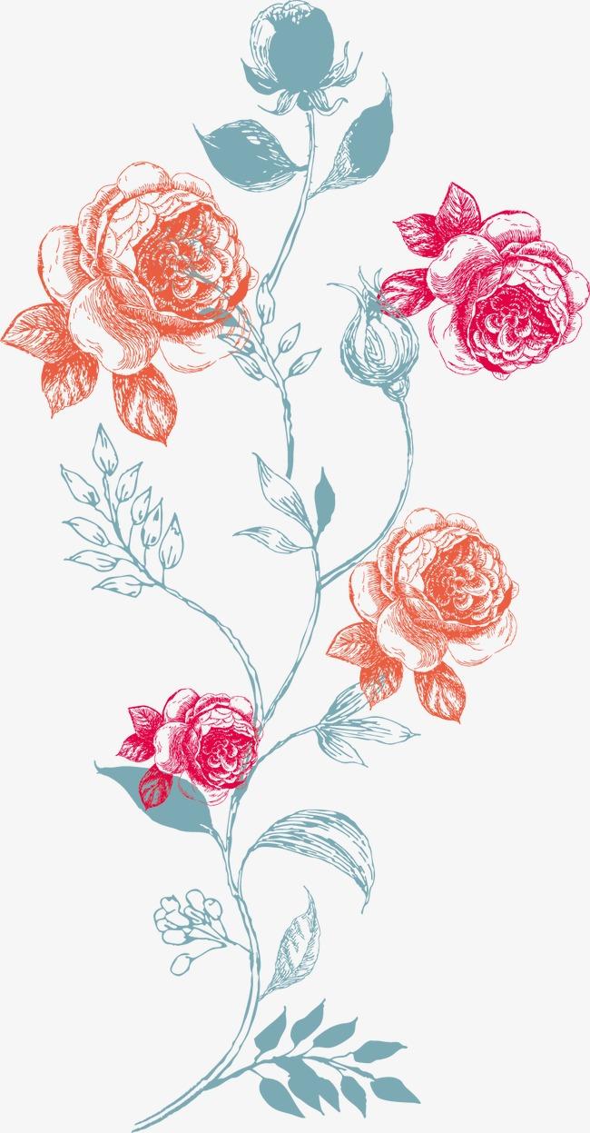 手绘花纹花儿花朵花卉玫瑰花矢量矢量花藤印花手绘花纹T恤图案服装图片