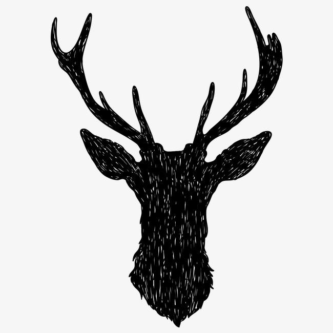 黑白糜鹿动物图案png素材-90设计