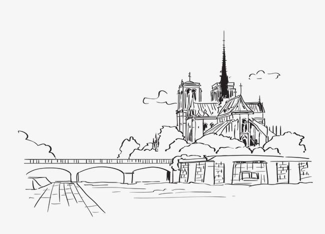 旅游景点建筑线描素材图片免费下载 高清装饰图案png 千库网 图片编