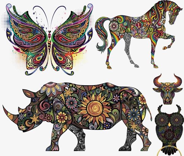 彩色动物纹身刺青
