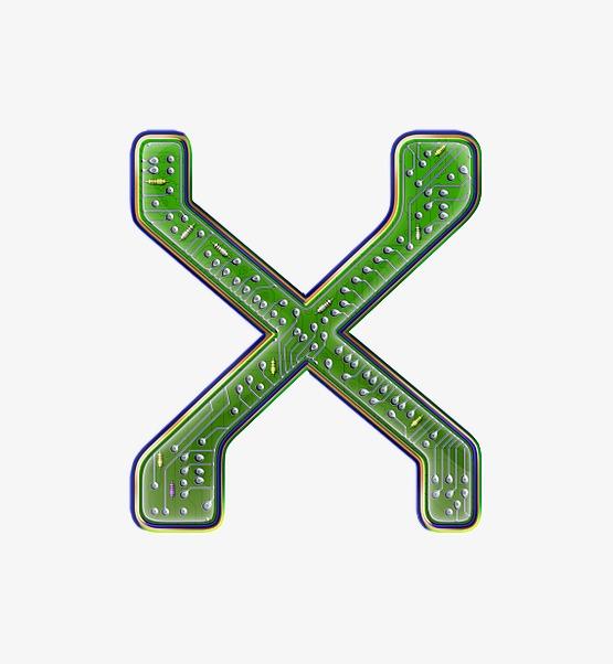 电路板字母x【高清艺术字体png素材】-90设计