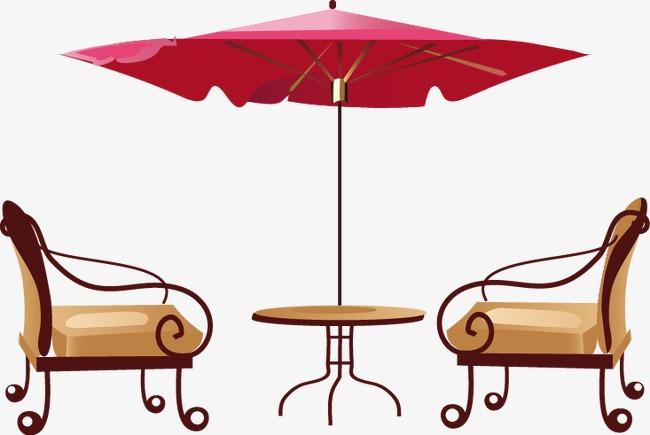 手绘室外太阳伞凉椅