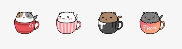 咖啡猫 可爱 表情包png素材-90设计