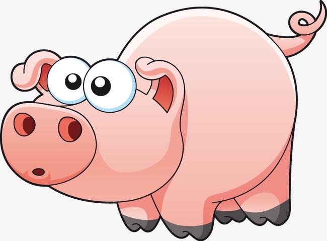 手绘卡通猪图案