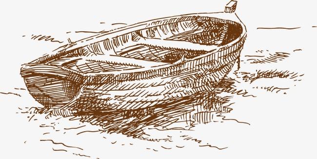 夏季海滩手绘线稿素材矢量素材