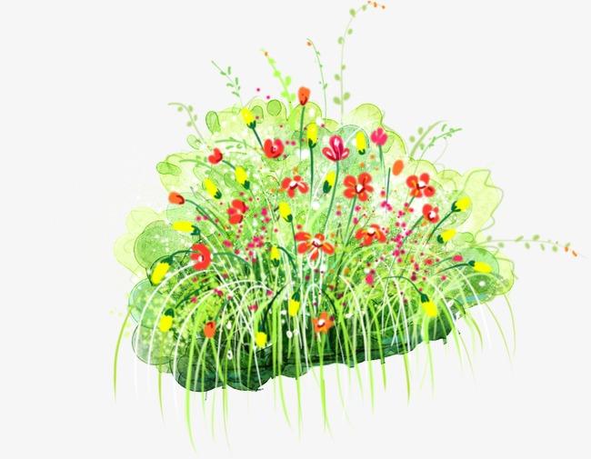 清新手绘小花丛