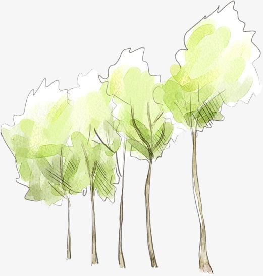 手绘水粉清新树