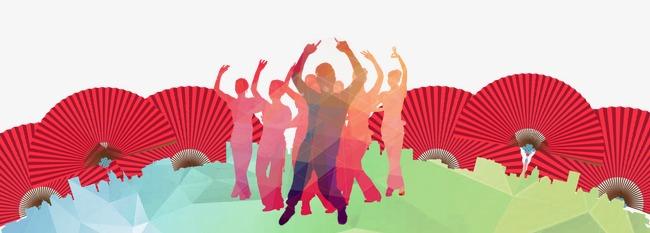 广场舞人物彩色剪影 中国风背景图片