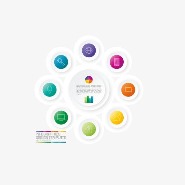 设计元素 科技素材 信息图表 > 扁平化几何形商务信息展示ppt元素