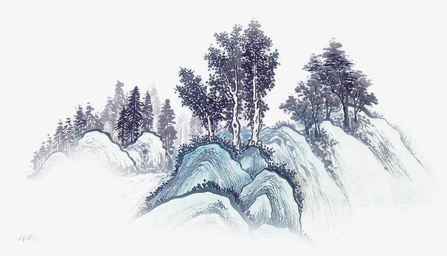 古风墨迹水墨图片水墨画山树素材图片免费下载_高清装饰图案png_千库