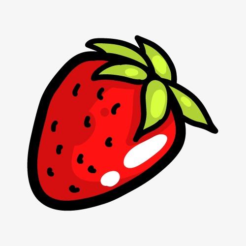 可爱卡通简笔手绘水果草莓