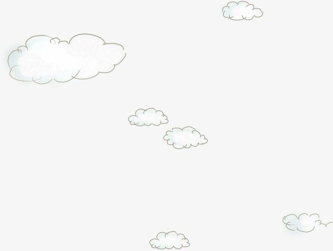 手绘线条白云