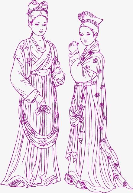 手绘古典美女素材图片免费下载 高清装饰图案psd 千库网 图片编号2593101