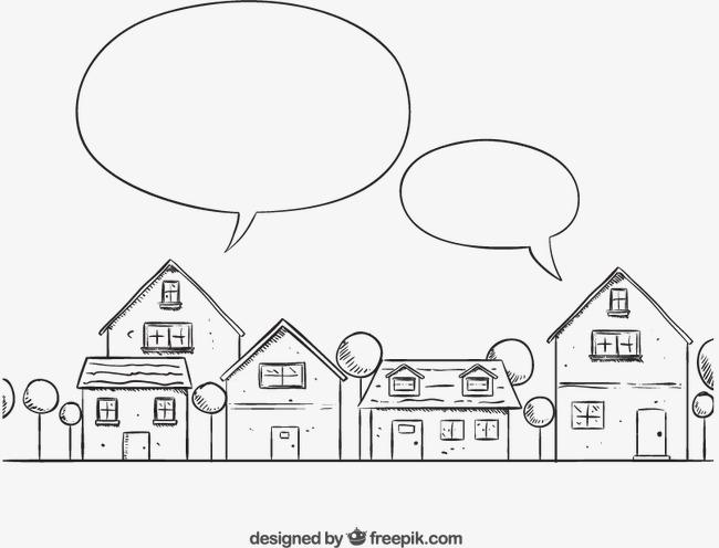 手绘房屋与语言气泡矢量素材下载,树木房屋建筑语言气泡街道楼房图片