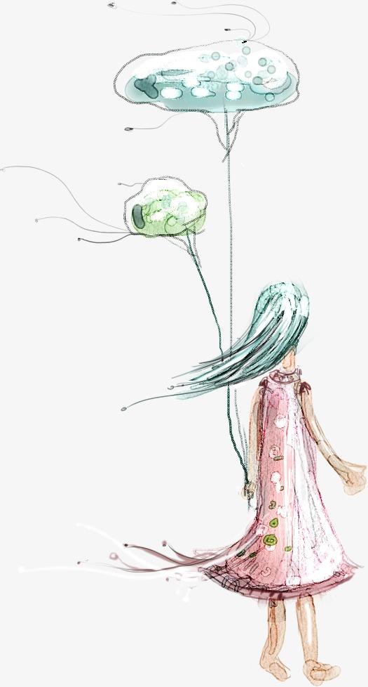 卡通手绘女孩背影