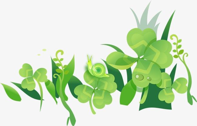 绿色清新幸运叶子图片
