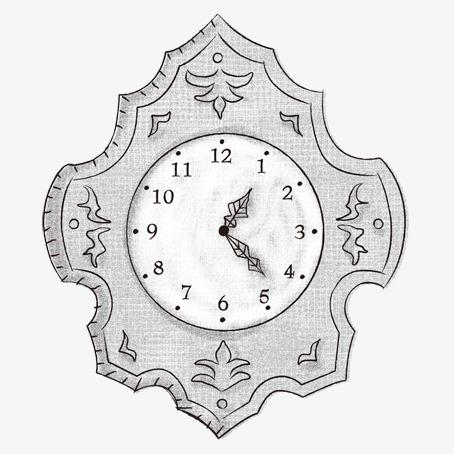 手绘黑白时钟装饰图