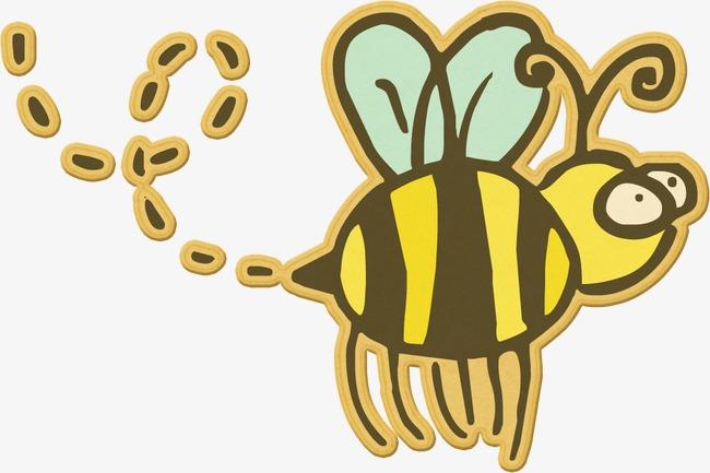 手绘彩色贴纸蜜蜂