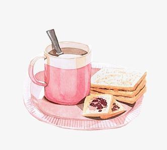 手绘水粉早餐