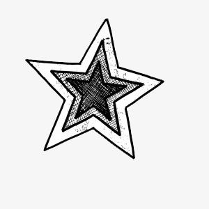 黑白手绘五角星