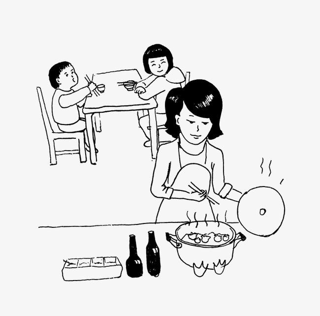 家庭团圆的简笔画
