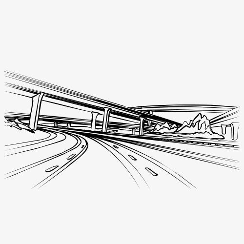 手绘高架桥线稿