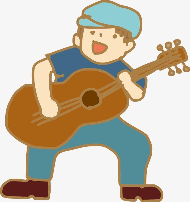 卡通手绘弹吉他图案