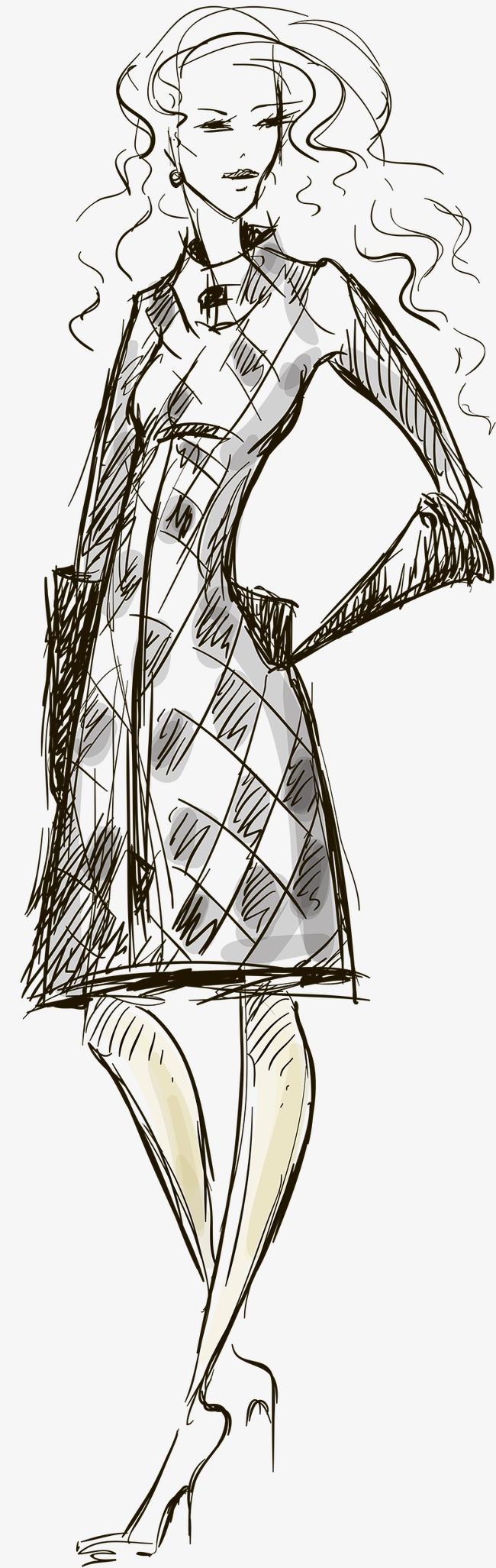 手绘线描模特